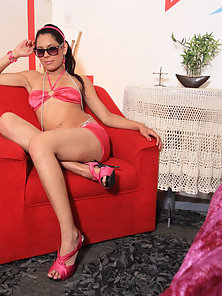 Sweet little Latina teen in some skimpy pink clothes has her pussy banged