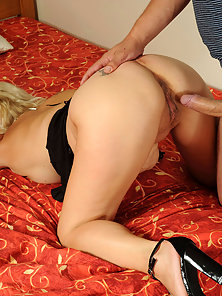 Older cougar has her pussy pounded and then rides the hard cock like a champ