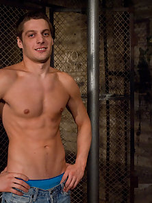 Sexy hunk Andrew Blue gets fucked by huge fucking machines.