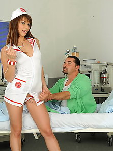 Sexy babe nurse Eliska is taking care of a patient