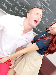 Hot blue eyed ginger teenager with huge boobs gets her uniform skirt pulled up and her shaved wet pu