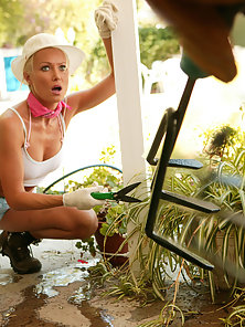 Hot old chick gardening gets disgraced and fucked.
