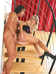 Blonde Karolina on Steps Seduce then Nailed Tight Cunt by Hubby