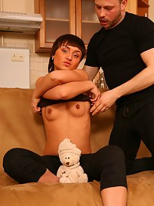 Lucky dude hooks it up with a stunning petite kitty addicted to sex and to the taste of cock sauce