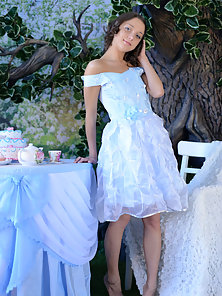 Lovable Celebrity in Wedding Dress Removes and Fingered Holding Apples