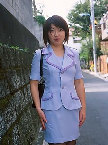 Innocent looking Japanese office girl gets naked and naughty