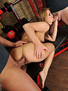Horny bitch Bailee fucking with 2 guys at the gym