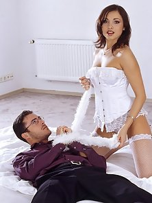 Alexa May is a hot babe in white stockings enjoying anal sex