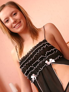 Hot teen chick wants you come close in order to take a look at her funs on the bed.