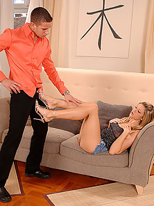 Redhead Babe Monica Sweetheart Teases Husband with her Legs and Feet
