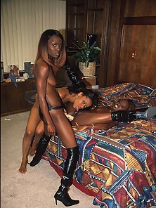 Three horny black babes put dildos to good use