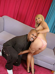 Petite slut works 14 inch big black cock and swallows mega nut