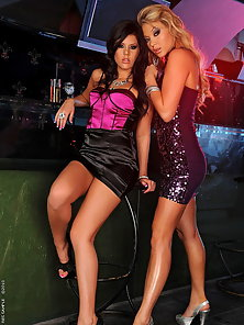 Madison and Natalia having sex in a night club