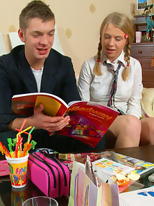 A teenager couple getting horny and fucking like rabbits instead of their English homework.