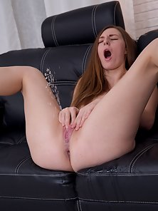 Redhead Babe Toying Pussy until Pissing and then Drinking It