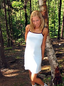 Blonde teen gets a facial while she sleeps in the woods