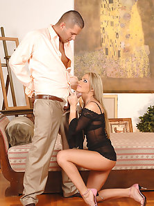 Blonde in Black Dress Unbuttons Partner Pants and Strokes His Stiff Dick