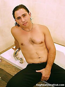 Long haired amateur gay Antonio showing his fat cock