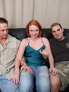 Red Haired Sexy Fair Babe Blowjob Dick and Anal Pounded In Threesome Sex