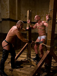 Master Tober gives slave park a slave training of his life.