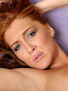 Red head, morgan reigns licks the balls before getting stuffed by a massive cock