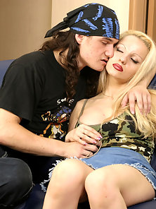 Horny teen has hardcore vaginal and oral sex with the leader of local rock band.