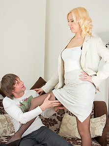 Sexy blonde mom gets her needy twat pounded after a hard day of work