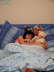 Without any hesitations lesbian teen girls get undressed and start caressing each other