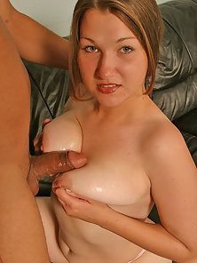 Sacha cummed all over her huge breasts