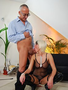 Skanky blonde British girl fucked by a big senior erection