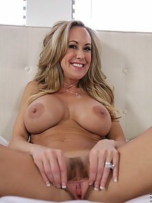 Beautiful Blonde Mom With Giant Tits Spreads Her Trimmed Pussy