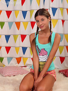Delectable teen sweetheart with a sexy petite tanned body sucks and fucks with pleasure.