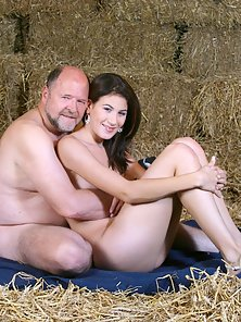 Sexy beauty pleasing senior his stiffy cock in a stable