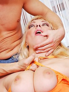 Blonde babe gets big natural tits drilled