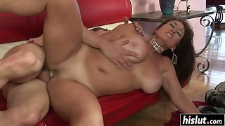 Brunette latina milf makes his dick disappear