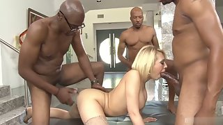 Blonde groupsex in naked and double penetration during fuck