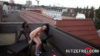 Bubble Ass Whore Gets Rammed by Black Dude on a Rooftop