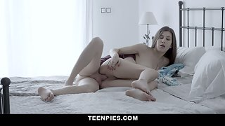Horny teen with dildo gets a hot creampie