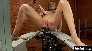 Solo chick has fun with toys on a gyno chair
