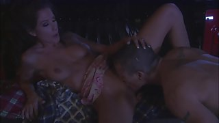 Horny naughty couple enjoy oral sex outside