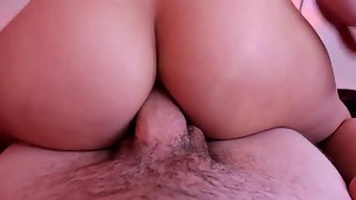 Round Titted Girl Sucking and Riding Cock of Her BF