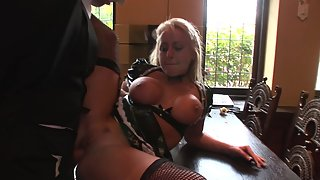 Perfectly shaped maid gets fucked hard