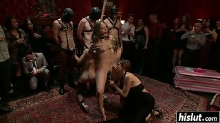Stockings Wearing Roped Babes on Floor Slammed by Dudes in Group