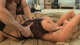 Sexy blonde carpenter in sexy lingerie and stockings gets fucked