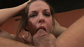 Stunning Babe Cries While Being Fucked Hard in the Mouth by a Huge Cock
