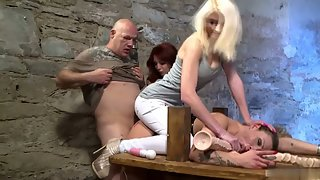 Horny babes one by one fucked hardly by hunky dude