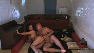 Horny sexy babe gets a fat cock in her twat