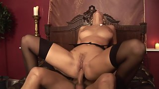Outstanding blonde riding hard cock