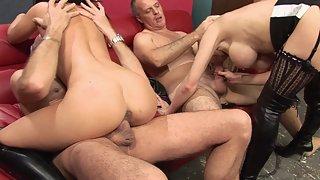 Steaming foursome on the couch