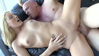 Delicious blonde fucked by an older bald dude